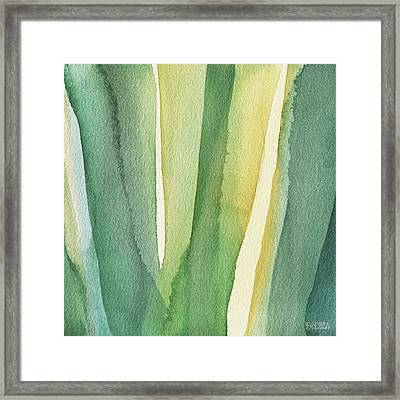 Green Teal And Yellow Abstract Framed Print by Beverly Brown