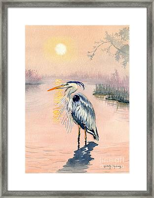 Great Blue Heron At Sunset Framed Print by Melly Terpening
