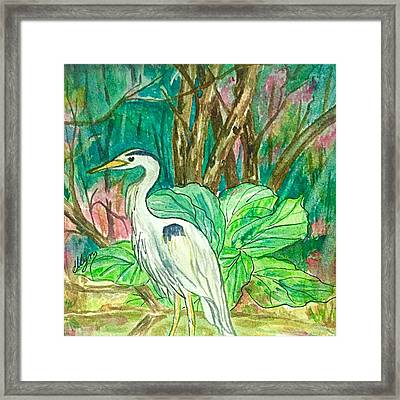 Great Blue Heron Backyard Visitor  Framed Print by Ellen Levinson