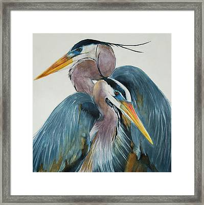 Framed Print featuring the mixed media Great Blue Heron Couple by Jani Freimann