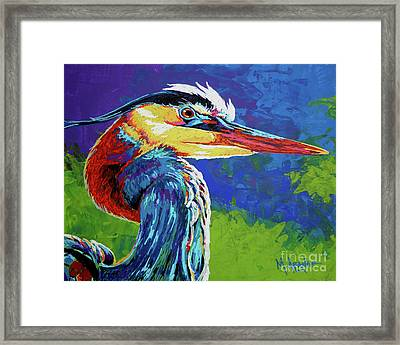 Great Blue Heron Framed Print by Maria Arango