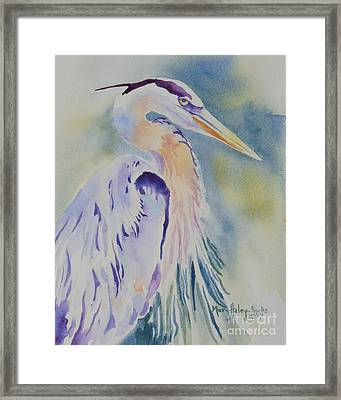 Framed Print featuring the painting Great Blue Heron by Mary Haley-Rocks