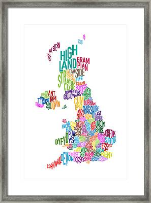 Great Britain County Text Map Framed Print