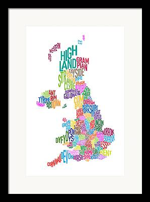 County Map Framed Prints