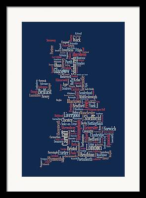 Great Britain Map Framed Prints