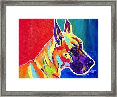 Great Dane - Rainbow Dane Framed Print