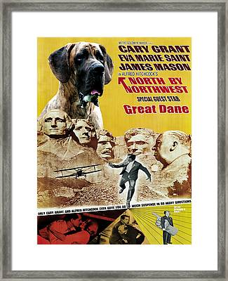 Great Dane Art Canvas Print - North By Northwest Movie Poster Framed Print by Sandra Sij