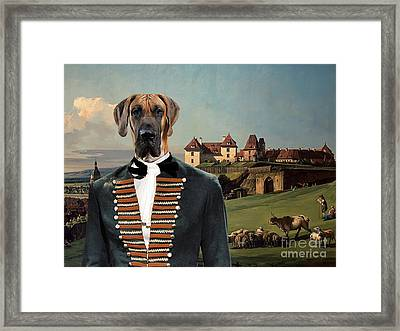 Great Dane Art - The Baron And Castle Framed Print by Sandra Sij