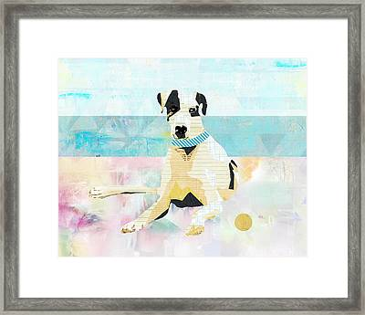 Great Dane At The Beach Framed Print