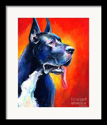 Great Dane Portrait Framed Prints