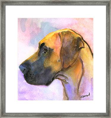 Great Dane Framed Print by Mary Jo Zorad
