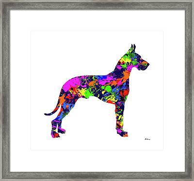 Great Dane Paint Splatter Framed Print