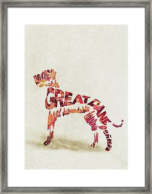 Great Dane Watercolor Painting / Typographic Art Framed Print