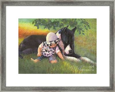 Great Dane With Baby Framed Print