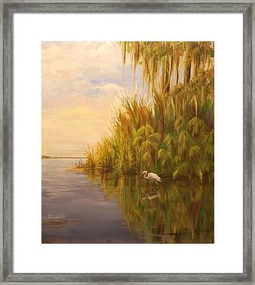 Great Egret On Marsh Framed Print by Beth Maddox