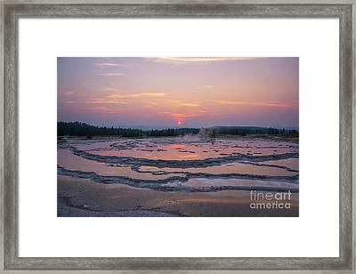 Great Fountain Geyser Sunset Reflections Framed Print