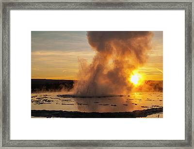 Great Fountain Geyser Sunset - Yellowstone National Park Framed Print
