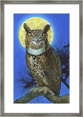 Framed Print featuring the painting Great Horned Owl 2 by John Dyess