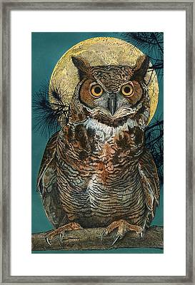 Framed Print featuring the painting Great Horned Owl by John Dyess