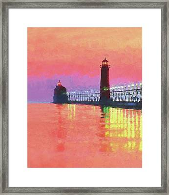 Great Lakes Light Framed Print by Dennis Cox WorldViews