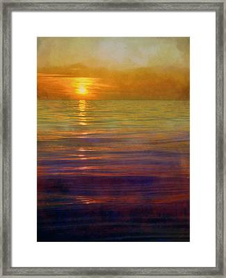 Framed Print featuring the digital art Great Lakes Setting Sun by Michelle Calkins