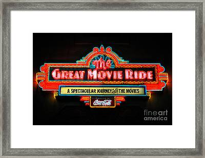 Great Movie Ride Neon Sign Hollywood Studios Walt Disney World Prints Ink Outlines Framed Print