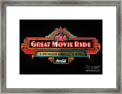 Great Movie Ride Neon Sign Hollywood Studios Walt Disney World Prints Framed Print by Shawn O'Brien