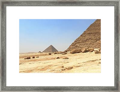 Framed Print featuring the photograph Great Pyramids Of Gizah by Silvia Bruno