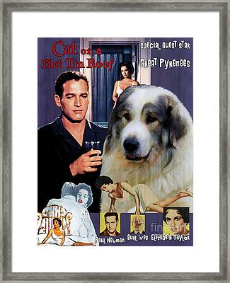 Great Pyrenees - Pyrenean Mountain Dog Art Canvas Print - Cat On A Hot Tin Roof Movie Poster Framed Print