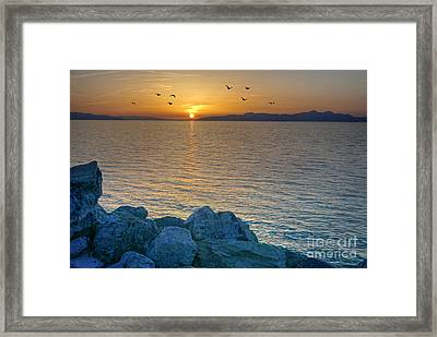 Great Salt Lake At Sunset Framed Print