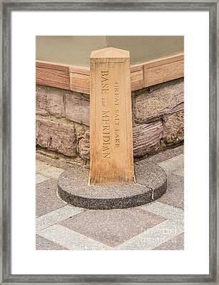 Great Salt Lake Merdian Marker Framed Print by Gary Whitton