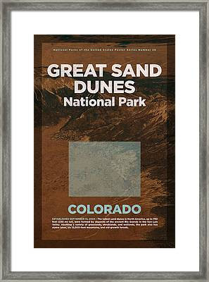 Great Sand Dunes National Park In Colorado Travel Poster Series Of National Parks Number 26 Framed Print