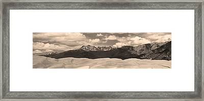Great Sand Dunes Panorama 1 Sepia Framed Print by James BO  Insogna