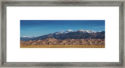 Framed Print featuring the photograph Great Sand Dunes Panorama 3to1 by Stephen Holst