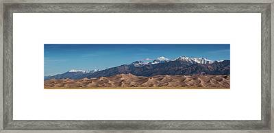 Framed Print featuring the photograph Great Sand Dunes Panorama 4to1 by Stephen Holst