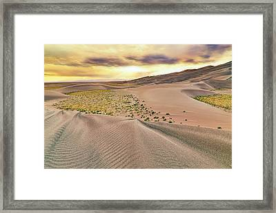 Framed Print featuring the photograph Great Sand Dunes Sunset - Colorado - Landscape by Jason Politte