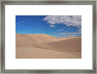 Great Sand Dunes Under A Blue Sky Framed Print