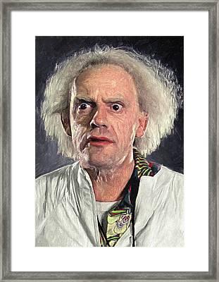 Great Scott - Doc Brown Framed Print by Taylan Apukovska