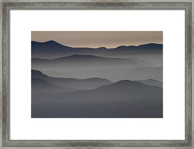 Great Smokey Mountains Shrouded In Fog Framed Print