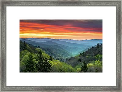 Great Smoky Mountains National Park Gatlinburg Tn Scenic Landscape Framed Print by Dave Allen