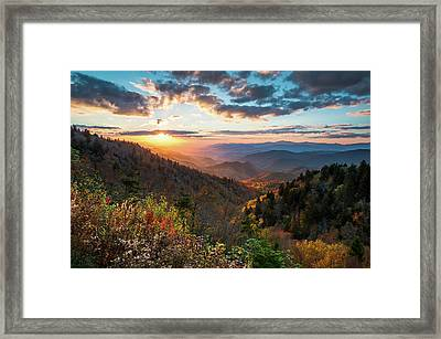 Great Smoky Mountains National Park Nc Scenic Autumn Sunset Landscape Framed Print