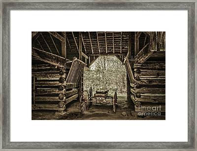Great Smoky Mountains National Park, Tennessee - Broken Wagon. Cades Cove Framed Print