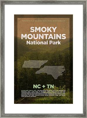 Great Smoky Mountains National Park Travel Poster Series Of National Parks Number 27 Framed Print by Design Turnpike