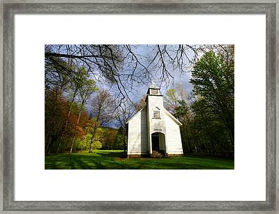 Great Smoky Mountains Spring Storms Over Palmer Chapel  Framed Print