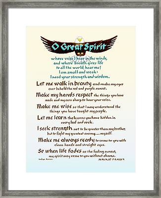 Great Spirit Prayer Framed Print