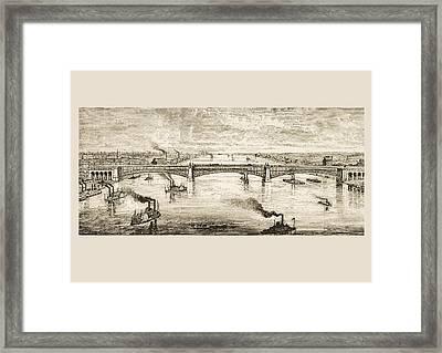 Great Steel Bridge Crossing Mississippi Framed Print
