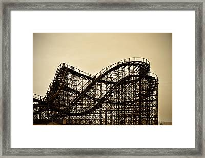 Great White Roller Coaster - Adventure Pier Wildwood Nj In Sepia Framed Print