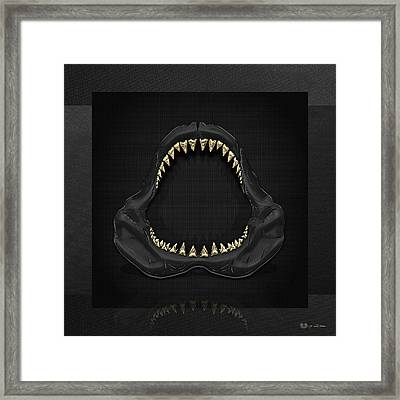 Great White Shark - Black Jaws With Gold Teeth On Black Canvas Framed Print