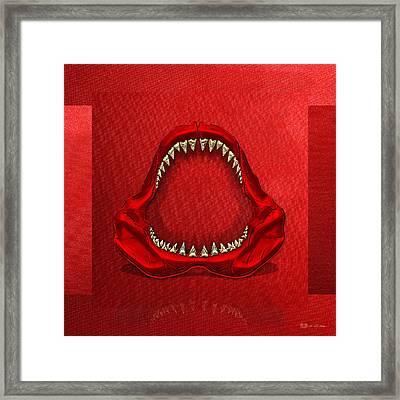 Great White Shark - Red Jaws With Gold Teeth On Red Canvas Framed Print by Serge Averbukh