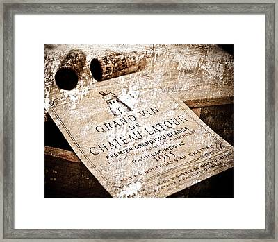Great Wines Of Bordeaux - Chateau Latour 1955 Framed Print by Frank Tschakert